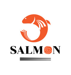 fresh salmon meat logo with fish jump vector image vector image