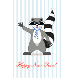 raccoon a gargle greeting card for new year and vector image vector image