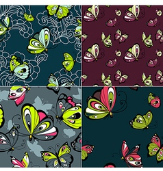 Set of four beautiful seamless patterns vector image vector image