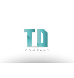 Td t d alphabet letter green logo icon design vector