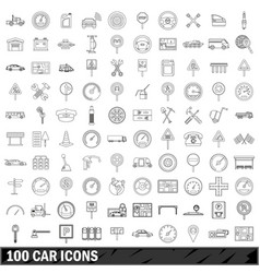 100 car icons set outline style vector image