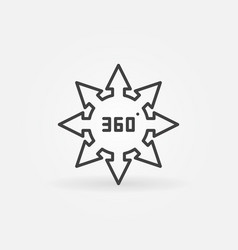 360 degrees arrows concept icon in outline vector image