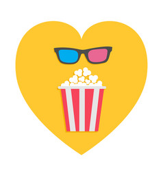3d glasses and big popcorn heart shape i love vector image