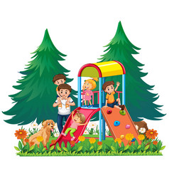 a family at the playground vector image