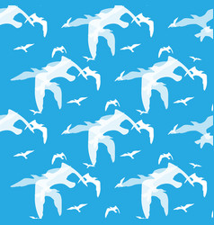 Abstract pattern of bird on the blue vector