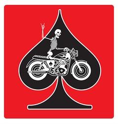 ace spades with skeleton biker design vector image