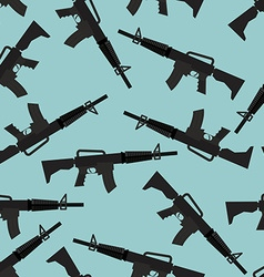 Automatic rifle M16 seamless pattern Arms on blue vector