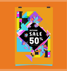 Autumn sale poster template with lettering bright vector