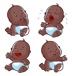 Baby toddler set with worried baby crying baby vector image