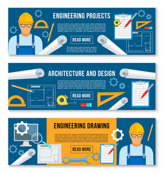 Banners home interior design work tools vector
