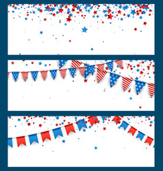 Banners with american flags and stars vector