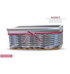basket isolated on white realistic detailed vector image