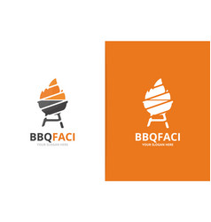 bbq logo combination grill symbol or icon vector image