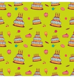 Birthday background on green vector