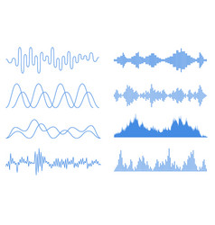 blue sound waves set audio equalizer technology vector image