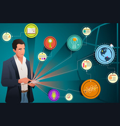 businessman looking at internet technology vector image