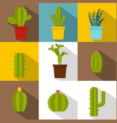 cactus plants icon set flat style vector image
