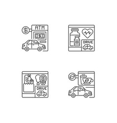 Car in drive in linear icons set vector