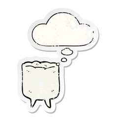 Cartoon tooth and thought bubble as a distressed vector