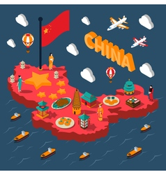 China Touristic Isometric Map vector image