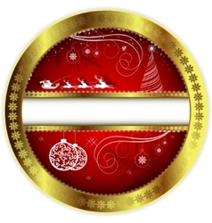 Christmas red design with a gold border vector image