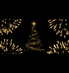 christmas tree firework black background gold vector image