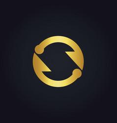Circle arrow infinity gold logo vector