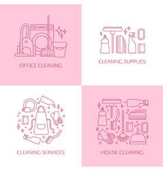 Cleaning logo set vector image