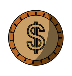 Coin cash isolated vector