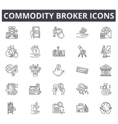 Commodity broker line icons for web and mobile vector