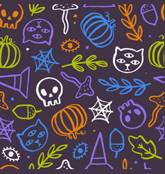 cute and trendy halloween seamless pattern vector image