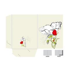 decorative folder with floral element vector image