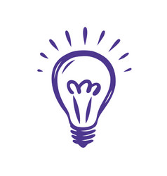 doodle hand drawn shining light bulb isolated on vector image