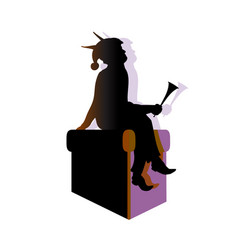 Elf silhouette with stereo shadows flat vector