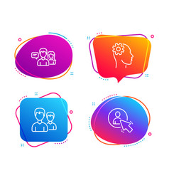 Engineering couple and people talking icons set vector
