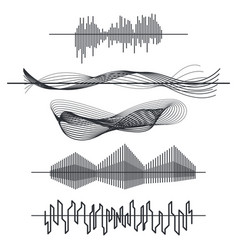 equalizer sound waves set audio black line waves vector image