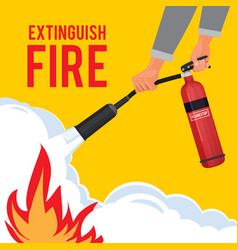 Extinguisher in hands firefighter with fire red vector