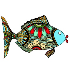 Fish with floral vector