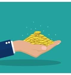 Flat background with hand and money vector image