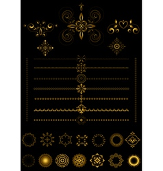 Gold borders and ornaments on black background vector