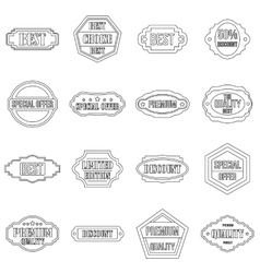Golden labels icons set outline style vector image