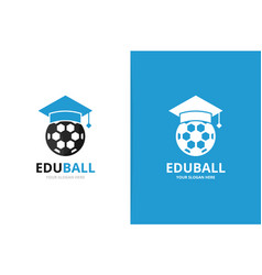 Graduate hat and soccer logo combination vector