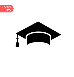 Graduation hat icon isolated on white background vector