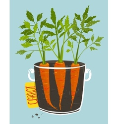 Growing Carrots with Green Leafy Top in Mug vector image