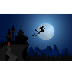 halloween witch flying under hills dark castle vector image