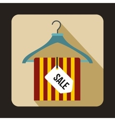 Hanger with sale tag icon flat style vector image