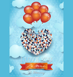 heart with balloons valentine card vector image