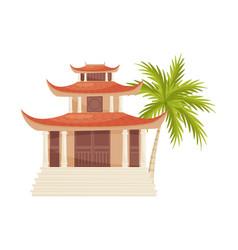 hoang phap pagoda and green palm tree historic vector image