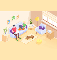 home online work freelancers couple isometric vector image