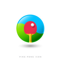 icon ping pong game racket ball sport table tennis vector image